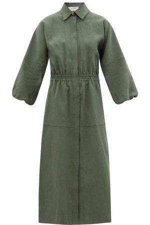 GABRIELA HEARST Ares Linen Midi Dress - Womens - Dark