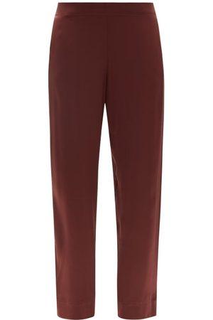 ASCENO London Sandwashed Silk-satin Pyjama Trousers - Womens - Dark