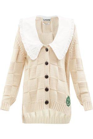 Ganni Chelsea-collar Cotton-blend Basket-knit Cardigan - Womens - Light