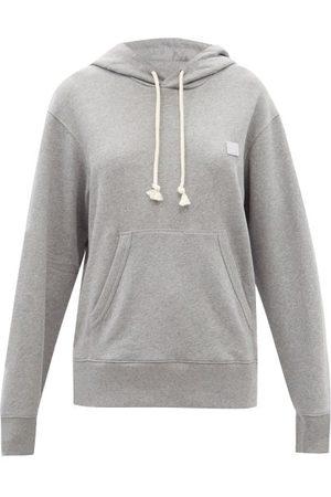 Acne Studios Fairah Face-appliqué Cotton Hooded Sweatshirt - Womens - Light Grey