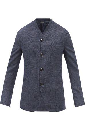 Armani Collarless Wool And Cashmere-blend Hopsack Blazer - Mens - Navy Multi