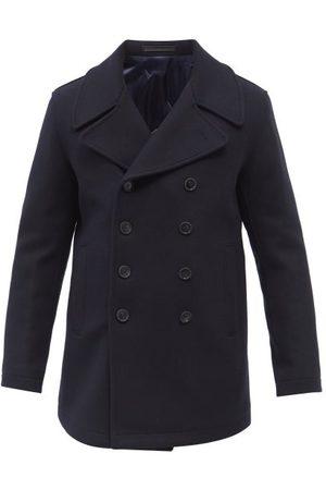 Armani Double-breasted Virgin Wool-blend Pea Coat - Mens - Navy