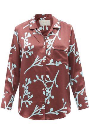ASCENO Women Pajamas - Paris Floral-print Silk Pyjama Shirt - Womens - Multi