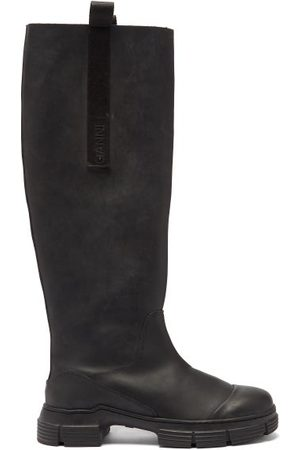 Ganni Chunky Recycled Rubber-blend Knee-high Boots - Womens - Khaki