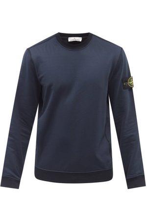 Stone Island Logo-patch Garment-dyed Cotton-jersey Sweatshirt - Mens - Navy