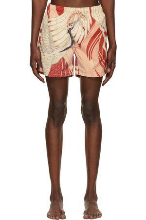 HUGO BOSS Men Swim Shorts - Red Graphic Miso Swim Shorts