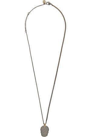 Alexander McQueen Gunmetal & Gold Skull Tag Necklace