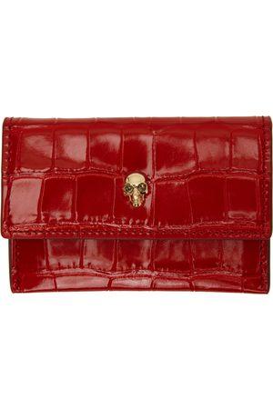 Alexander McQueen Red Croc Skull Envelope Card Holder