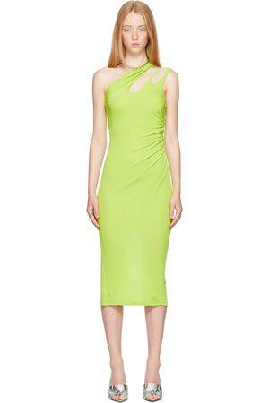 MUGLER Green Asymmetrical Cut-Out Dress