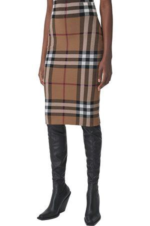 Burberry Women Pencil Skirts - Women's Kammie Check Jacquard Tube Skirt