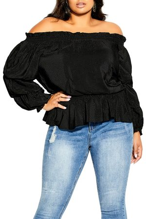 City Chic Plus Size Women's Dashing Textured Dot Off The Shoulder Top