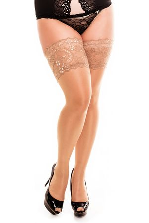 GLAMORY HOSIERY Women's Comfort Lace Top Opaque Stockings