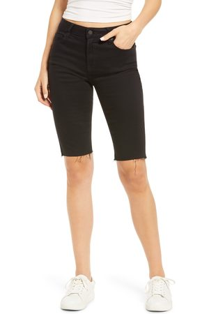 Hidden Jeans Women's High Waist Raw Edge Bermuda Shorts