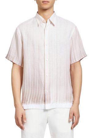 THEORY Men's Knoll Short Sleeve Linen Button-Up Shirt