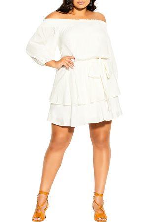 City Chic Plus Size Women's Cute Frills Clip Dot Off The Shoulder Minidress