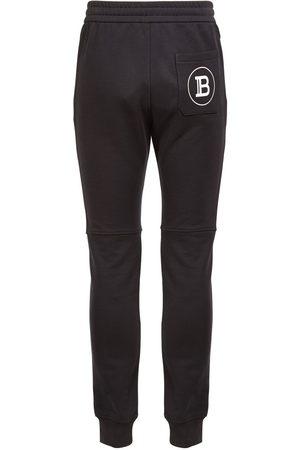 Balmain Men Sweatpants - Logo Print Cotton Jersey Sweatpants