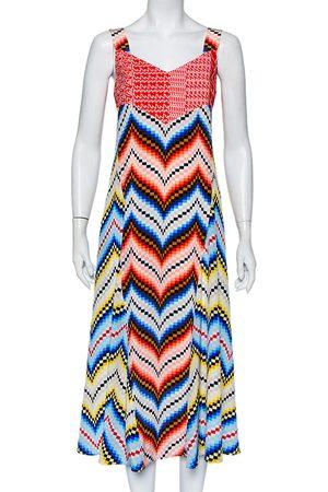 Kenzo Women Printed Dresses - Printed Chiffon Sleeveless Midi Dress L