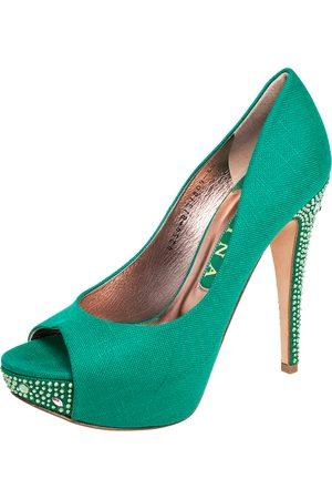 Gina Canvas Crystal Embellished Heel Peep Toe Platform Pumps Size 38.5
