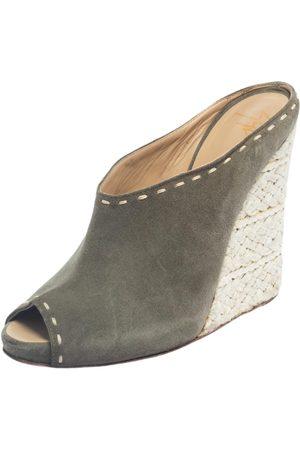 Giuseppe Zanotti Grey Suede Espadrille Wedge Peep Toe Mules Size 39.5
