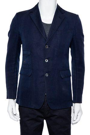 Gucci Navy Cotton & Linen Button Front Blazer M