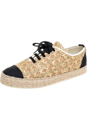 CHANEL /Black Raffia And Canvas Espadrille Sneakers Size 39
