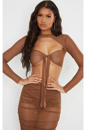 PRETTYLITTLETHING Women Crop Tops - Chocolate Mesh Raw Seam Tie Front Crop Top