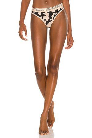 Calvin Klein CK One Cotton Thong in Nude.