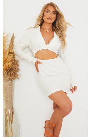 PRETTYLITTLETHING Long Sleeve Blazer Style Cut Out Bodycon Dress