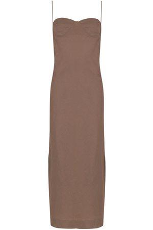 Piu Aura linen side-slit dress