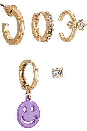 8 Other Reasons Women Earrings - Smiley Earring Set in Metallic .