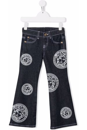 VERSACE Girls Flares - Amplified Medusa-print flared jeans