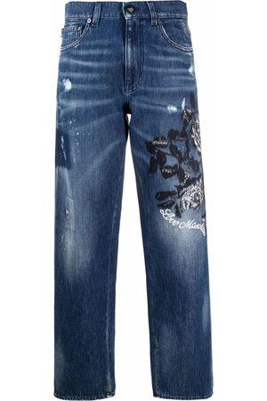 Love Moschino Embroidered 5-pocket boyfriend jeans