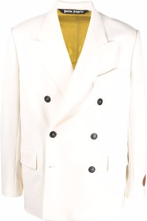Palm Angels X Missoni Heritage logo print double-breasted blazer - Neutrals