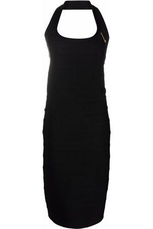 VERSACE Safety-pin detail halterneck dress