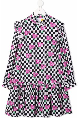Off-White Kids Girls Printed Dresses - Checkerboard-pattern floral-print dress