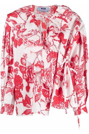 Msgm Floral-print ruffled wrap blouse