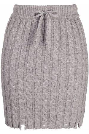 Pinko Women Mini Skirts - Cable-knit mini skirt - Grey