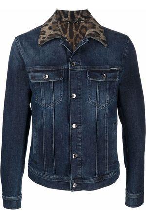Dolce & Gabbana Leopard print-collar denim jacket