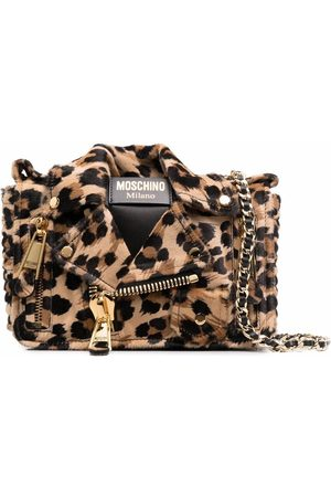 Moschino Leopard-print biker jacket shoulder bag - Neutrals