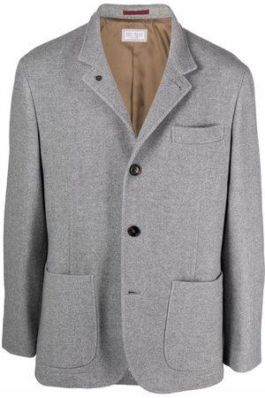 Brunello Cucinelli Notched-lapels single-breasted blazer - Grey