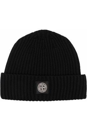 Stone Island Compass logo patch beanie hat
