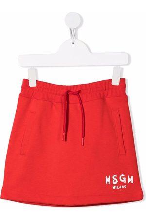 Msgm Logo-print cotton miniskirt