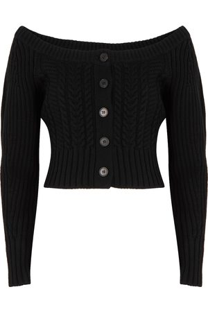 Alexander McQueen Women Cardigans - Cable-knit cropped wool-blend cardigan