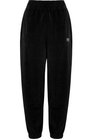 Alexander Wang Women Sweatpants - Logo-embellished velour sweatpants