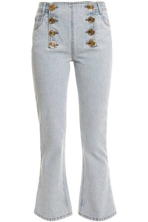 Balmain Buttoned Cropped Flared-leg Jeans - Womens