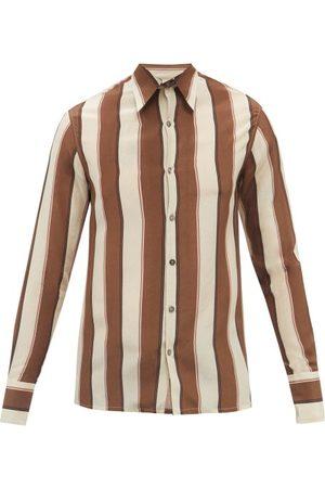 73 London Men Long sleeves - Striped Silk-crepe Shirt - Mens - Multi
