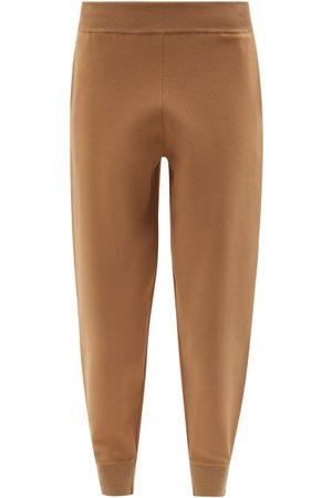 Stella McCartney Elasticated-cuff Compact-knit Trousers - Womens - Camel