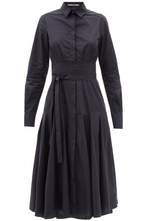 Another Tomorrow Belted Godet-panelled Organic-cotton Shirt Dress - Womens - Navy