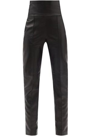 ALEXANDRE VAUTHIER High-rise Leather Slim-leg Trousers - Womens