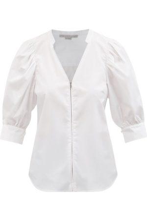 Stella McCartney Rose V-neck Short-sleeved Cotton Poplin Shirt - Womens